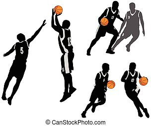 basketball players silhouettes collection 2
