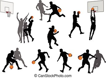 basketball players silhouettes collection 3