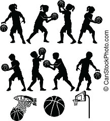 Basketball Players Silhouettes of Kids - Boys and Girls
