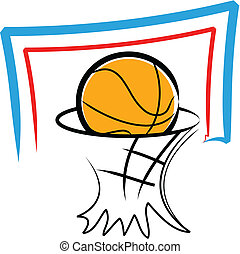Simple illustration of a basketball and a backboard