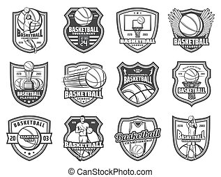 Basketball sport ball and player shield badges