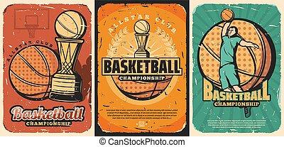 Basketball sport ball, basket, player, trophy cup
