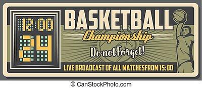Basketball sport ball, player and court scoreboard
