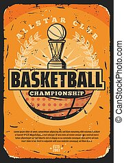 Basketball sport game, ball and trophy