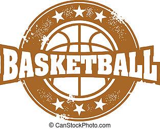 Vintage style basketball sport stamp.