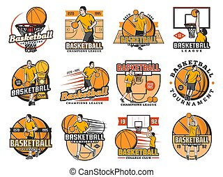 Basketball tournament, college club or league icon