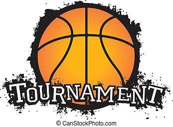 Grunge style basketball tournament team graphic.