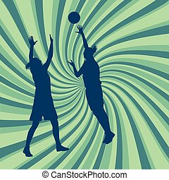 Basketball woman game in action with basketball hoop vector