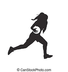 Basketball women, girl running with ball, isolated vector silhouette