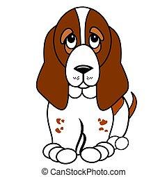 Cute Basset hound pup vector clipart