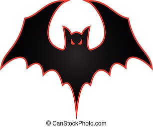 Sharp vector bat logo with wings spread and aggressive eyes with red trim