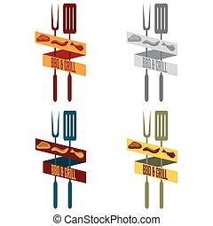 bbq and grill restaurant vintage banner set