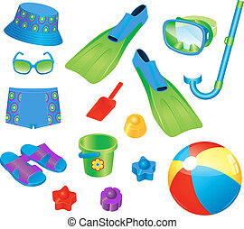 Colorful set of beach accessories for boy