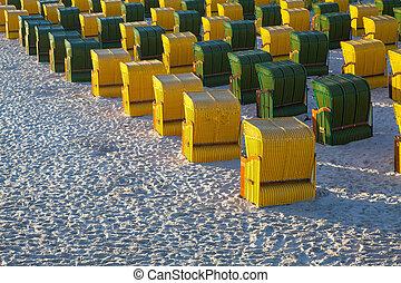 Beach chairs on the beach in Ruegen Island, Germany