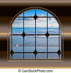 gothic or science fiction window looking onto a beautiful beach