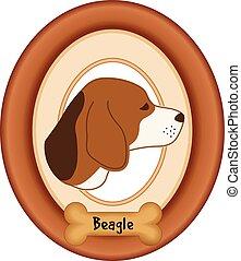 Beagle dog portrait in cherry wood mat frame, dog bone treat tag, isolated on white background. EPS8 compatible.
