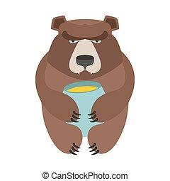 Bear and honey barrel. Cute wild animal and food. Forest predator