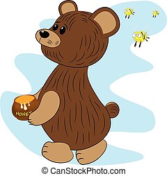 bear bees and honey cartoon vector illustration