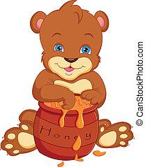 bear cartoon with honey