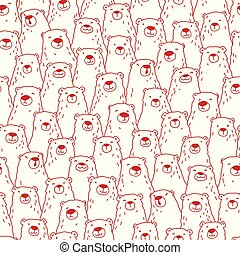 Bear Doodle Seamless Pattern polar isolated repeat wallpaper tile background