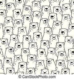 Bear Doodle Seamless Pattern polar isolated repeat wallpaper tile background doodle cartoon illustration