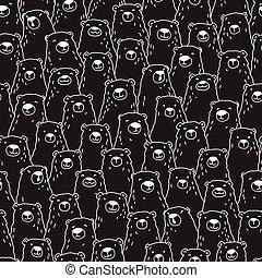 Bear Doodle Seamless Pattern polar isolated repeat wallpaper tile background illustration black