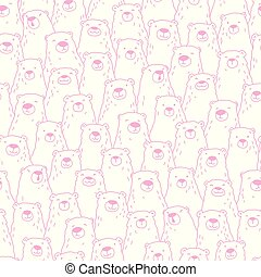 Bear Doodle Seamless Pattern polar isolated repeat wallpaper tile background illustration