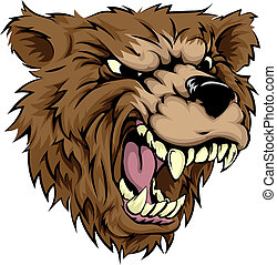 An illustration of a fierce bear animal character or sports mascot