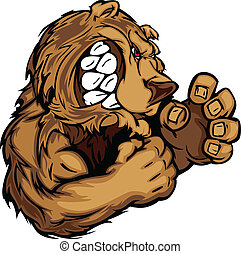 Bear Fighting Mascot Body Vector Illustration