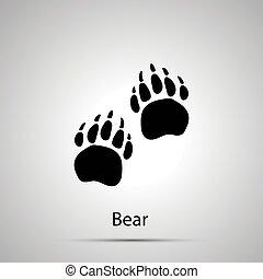 Bear paws, steps imprints, simple black silhouette on gray