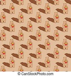 Bear Seamless Pattern vector polar bear Honey scarf isolated repeat wallpaper tile background cartoon