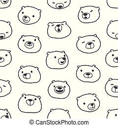 Bear seamless pattern vector polar bear scarf isolated cartoon repeat background tile wallpaper illustration