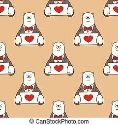 Bear vector Seamless Pattern polar bear heart valentine isolated repeat wallpaper tile background cartoon