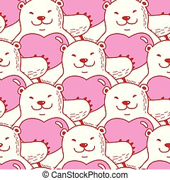 Bear vector Seamless Pattern polar bear heart valentine scarf isolated repeat wallpaper tile background cartoon illustration
