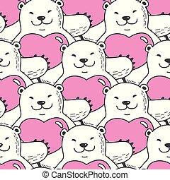 Bear vector Seamless Pattern polar bear heart valentine scarf isolated repeat wallpaper tile background cartoon illustration pink