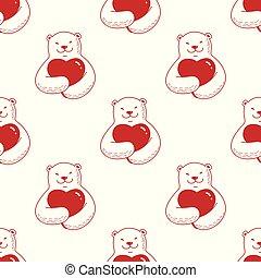 Bear vector Seamless Pattern polar bear hug heart valentine scarf isolated repeat wallpaper tile background doodle cartoon illustration