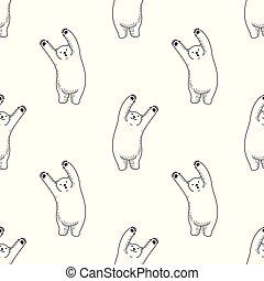 Bear vector Seamless Pattern polar bear isolated repeat wallpaper tile background illustration