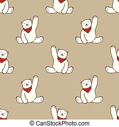 Bear vector Seamless Pattern polar bear scarf isolated repeat wallpaper tile background cartoon illustration brown