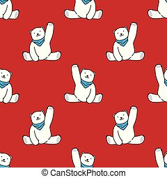 Bear vector Seamless Pattern polar bear scarf isolated repeat wallpaper tile background cartoon illustration red