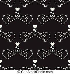 Bear vector Seamless Pattern polar bear valentine heart isolated repeat wallpaper tile background black