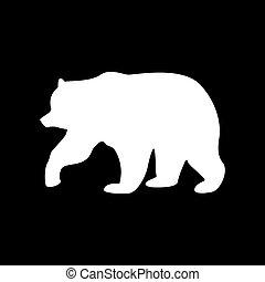 Bear white color icon .