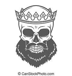 Bearded Skull King with Crown. Vintage Cruel tyrant portrait design. Royal t-shirt illustration. Old prince logo template