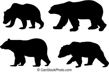 Abstract vector illustration of various bears