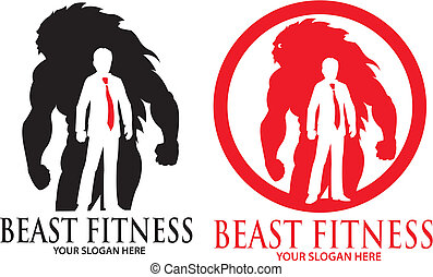 Beast Fitness Logo Mascot Template