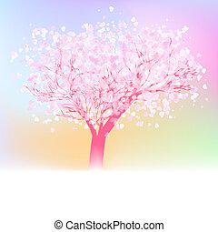 Beautiful abstract heart tree card. EPS 8