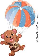 beautiful bear with parachute