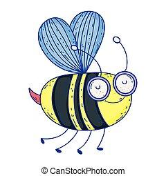 beautiful bee flying character
