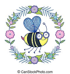 beautiful bee flying with floral crown
