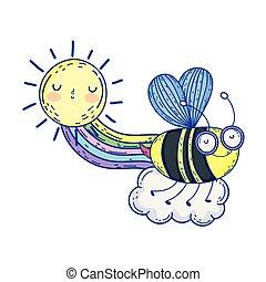 beautiful bee flying with rainbow and sun