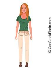 beautiful blond woman avatar character icon